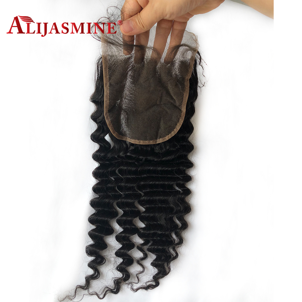 5x5 Lace Closure Deep Wave Brazilian Remy Hair Natural Color Pre Plucked With Baby Hair Fast