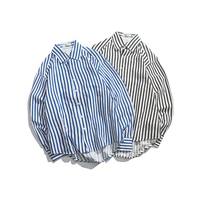 Spring New Dress Shirt Men Slim Fashion Striped Casual Shirt Man Streetwear Trend Wild Long sleeved Shirt Social Men Shirt