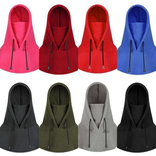 Unisex Winter Warm Snood Fleece Mens Womens Thicken Scarf Hood Neck Face Mask Ski Hat