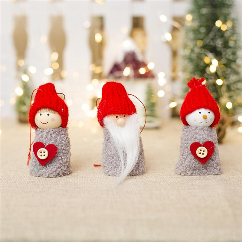 Real Life Plush 6pcs Xmas Dolls Decorative Christmas Mini Pine Cone Hanging Dolls Pendants For Decorating Window Door Fireplace Christmas Tree