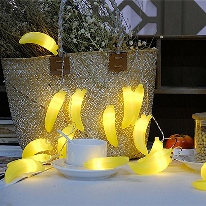 2m 20 LED Novelty Lemon Banana Shape String Lights Wedding Garden Christmas Party Baby Kids Bedroom Decor Holiday Lighting