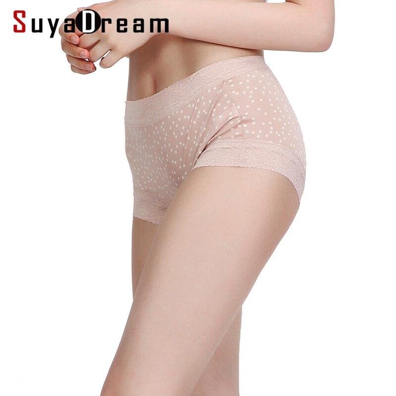 Women Bodyshort 100% Natural Silk   Panties   for Women Mid-Rise Waist Dots Printed Lace Underwear lingerie culotte NEW Pink black