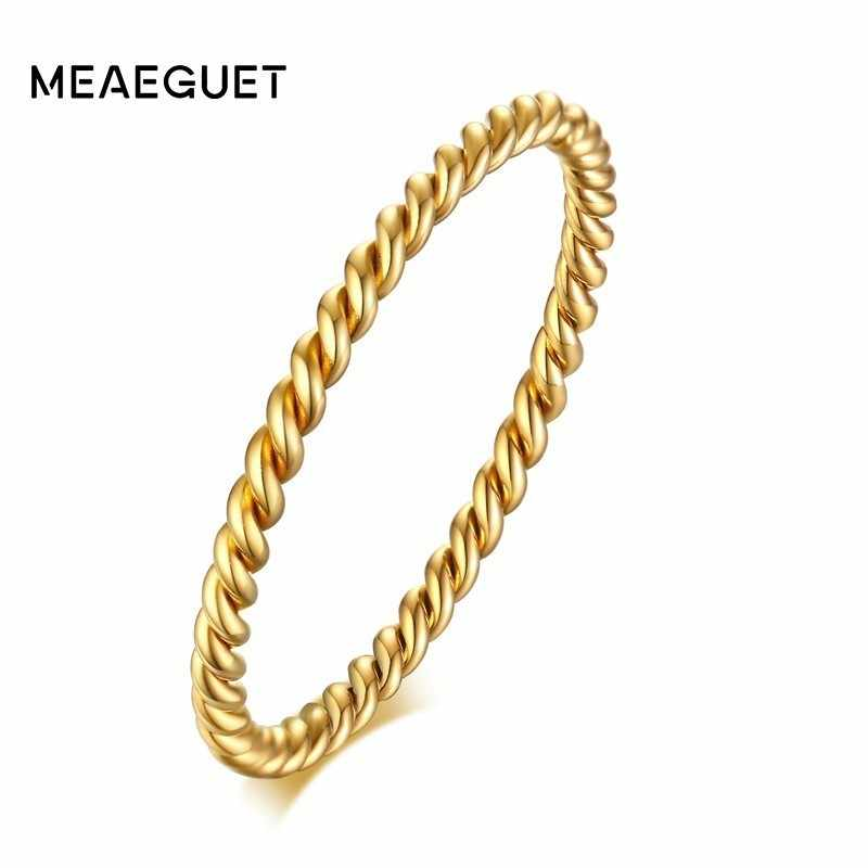 1.5MM Twisted Rope Wedding Band for Women Stainless Steel Stacking Knuckle Ring  Assorted Colors
