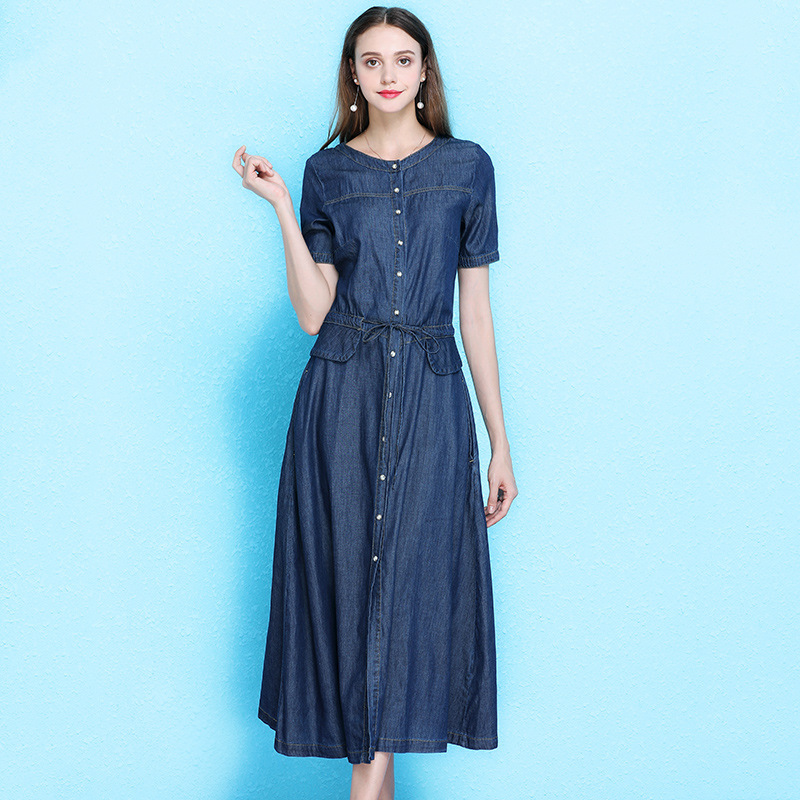 Women s fashion dress summer large size denim dress short sleeve long temperament drawstring waist a