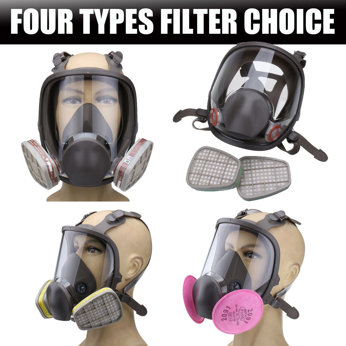 SAFURANCE Full Face Painting Spraying Respirator Gas Mask 2X Particulate Cotton Filter Workplace Safety Supplies Protective