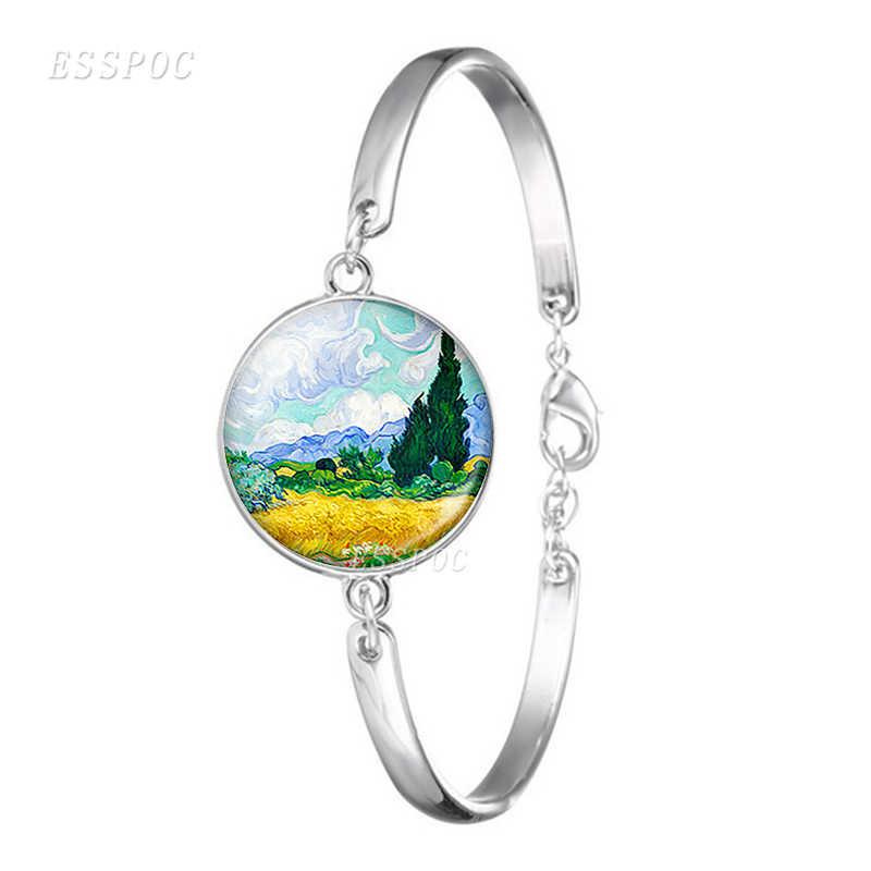 Ван Гог искусство масло серебряный металлический браслет для мужчин женщин мода стекло кабошон купол выпуклые Звездная ночь ювелирные изделия Подсолнух модный подарок