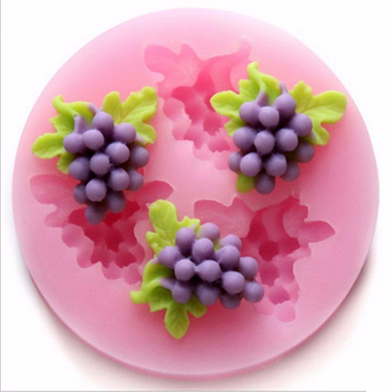 Wholesale Grapes <font><b>Silicone</b></font> <font><b>Mold</b></font> 3d Craft Soap Moulds <font><b>Fondant</b></font> <font><b>Cake</b></font> <font><b>Decorating</b></font> Moulds Chocolate Candy Gumpaste Fimo Clay <font><b>Molds</b></font> image