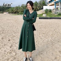 VGH Spring Vintage Women Dress Puff Sleeve V Neck High Waist Loose Oversize Slim Mid calf Pleated Dresses 2019 Fashion New