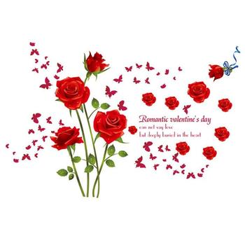Romantic Red Roses Waterproof PVC Wall Stickers Decorative Decal Bedroom Porch Living Room Bathroom TV Background Decor