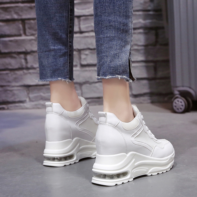 2019 Summer Women Sneakers Mesh Casual Platform Trainers White Shoes 9cm Heels Wedges Breathable Woman Height Increasing Shoes