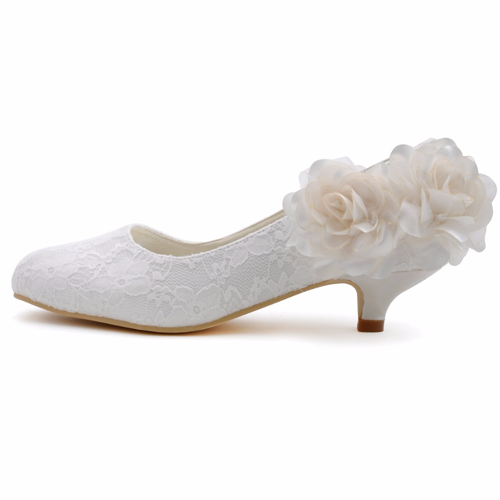 1 Inch Heels For Wedding: Women Wedding Shoes Low Heel EP2130 Ivory Size 41 Round