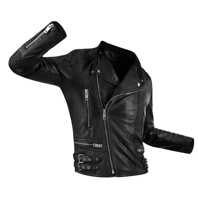 2019 ใหม่คลาสสิกจริงหนังแจ็คเก็ตผู้ชายแฟชั่นของแท้หนังชายเสื้อรถจักรยานยนต์หนังแจ็คเก็ต-ใน เสื้อโค้ทหนังแท้ จาก เสื้อผ้าผู้ชาย บน   1