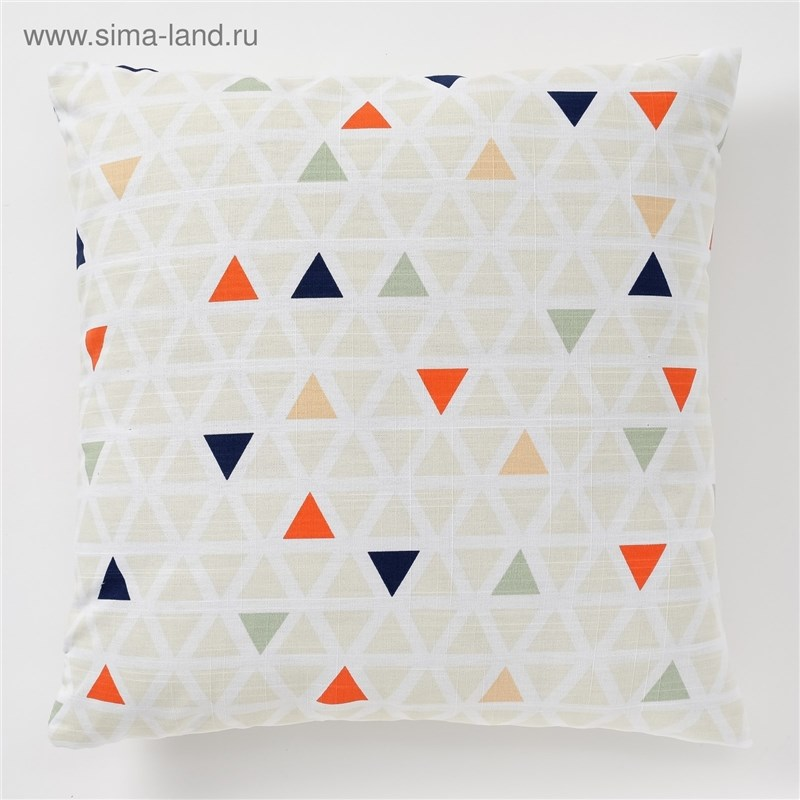 Decorative pillow case Ethel Triangles, 45x45 cm, репс, pl. 130g/m², 100% cotton decorative pillow case ethel triangles 45x45 cm репс pl 130g m² 100% cotton