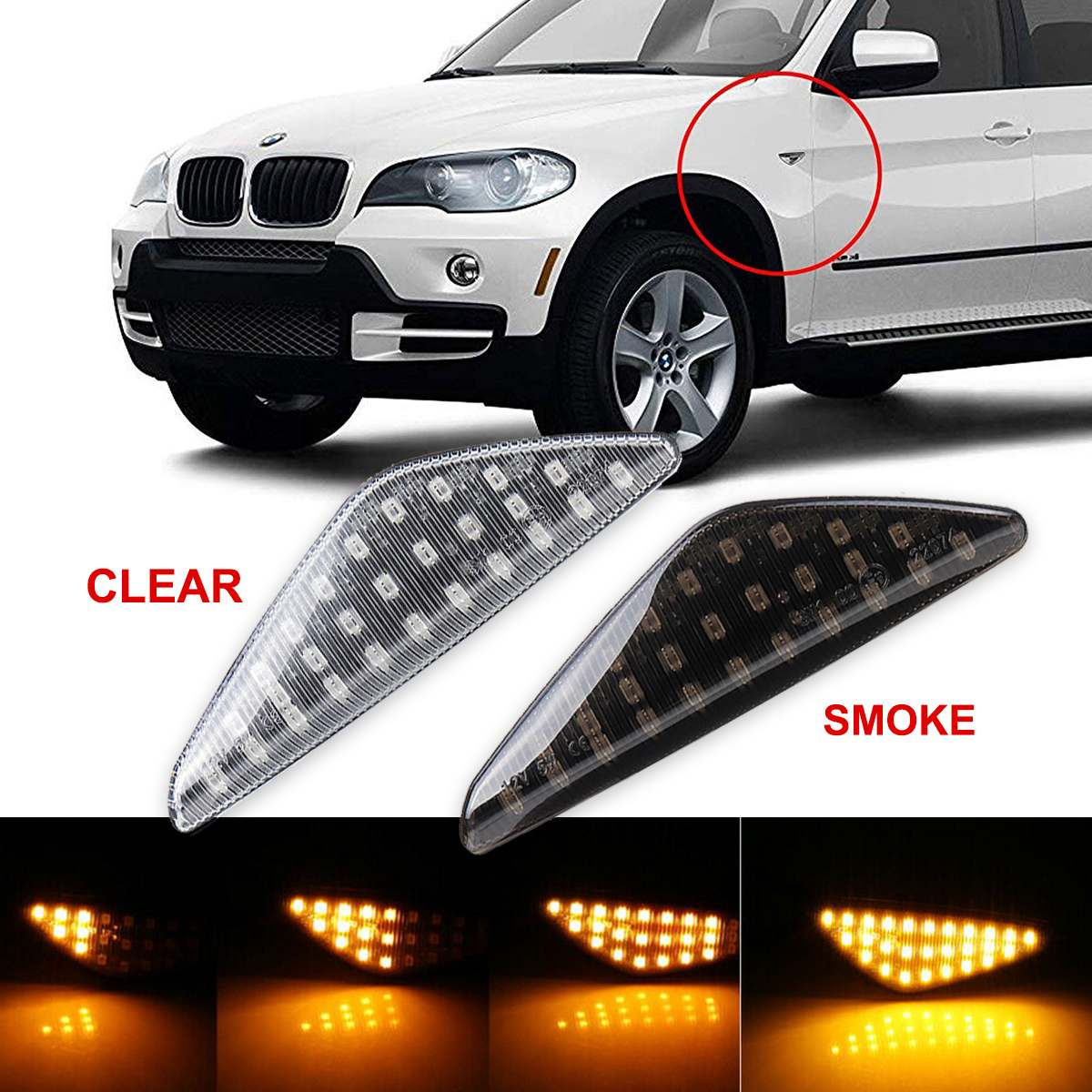 Pair Dynamic LED Side Indicator Turn Signal Light For BMW X5 E70 X6 E71 X3 F25