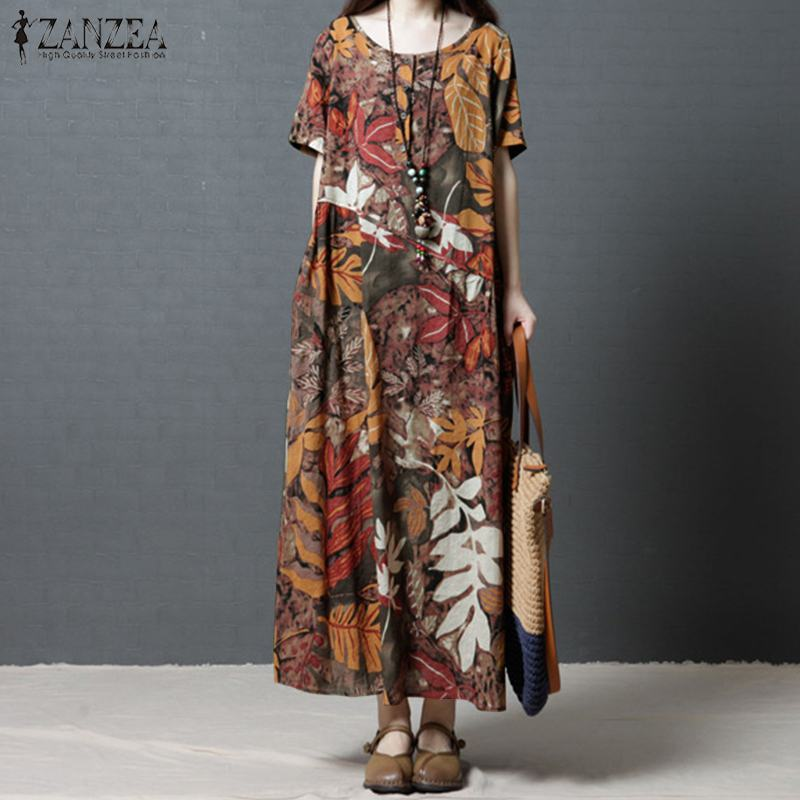 ZANZEA Women Summer O Neck Short Sleeve Vintage Floral Printed Cotton Linen Dress Beach Vestido Casual Bohemian Maxi Long Dress