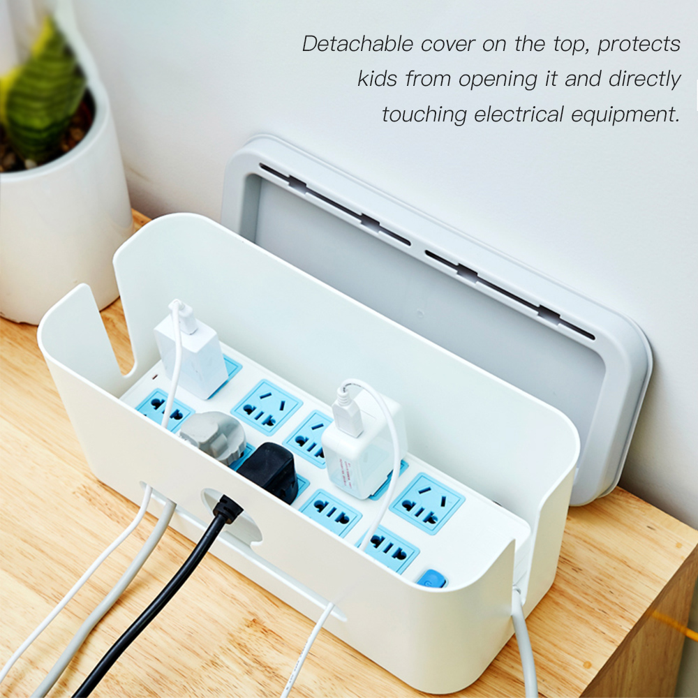 hight resolution of charging cable management box case power cord cover storage organizer with phone stand data cable wires hider for home office