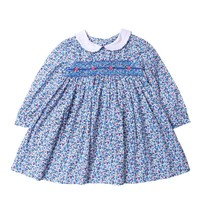 girl dress smock long sleeve baby girl clothes embroidery flower kids dresses for girl princess dress outiques children frock