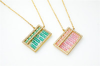 Free shipping 925silver hand made Ruyi small abacus collarbone chain short necklace blue beads pink