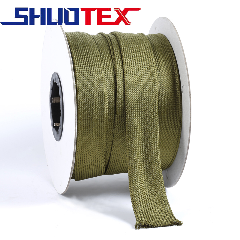 Military Green Polyester Wire Braided Casing