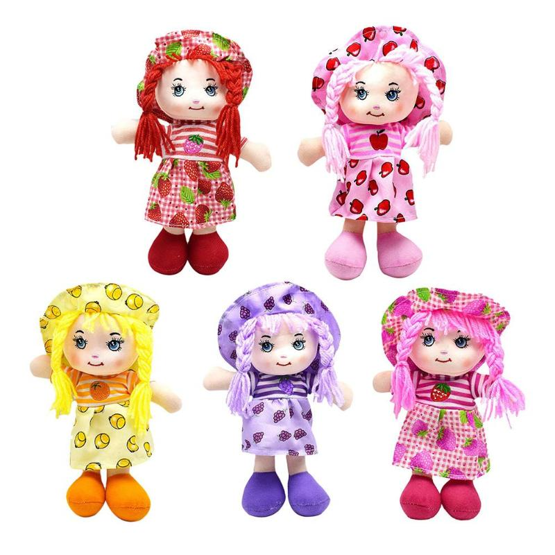 25cm Cartoon Kawaii Fruit Skirt Hat Rag Dolls Soft Cute Cloth Stuffe Toys for Baby Pretend Play Girls Birthday Christmas Gifts-in Dolls from Toys & Hobbies