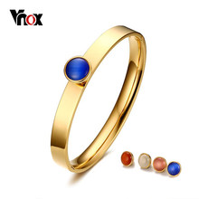 Vnox 4 Opal Stones Replacement Women Cuff Bracelets & Bangles Gold-color 8mm Stainless Steel DIY Jewelry(China)