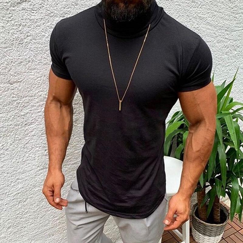 Men/'s Slim Fit T Shirts Designer Short Sleeve Muscle Fit Curved Hem Gym Tee Tops
