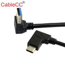 CableCC Reversible USB 3.1 USB C Angled to 90 Down Angled A Male Data Cable for Laptop