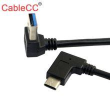CableCC dwustronny USB 3.1 USB C pod kątem do 90 w dół pod kątem A męski kabel do transmisji danych dla laptopa