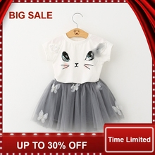 Girls Clothing Sets 2017 Summer New Clothes Bow Cute Little Cat T-shirt + Skirt Suit Crushed