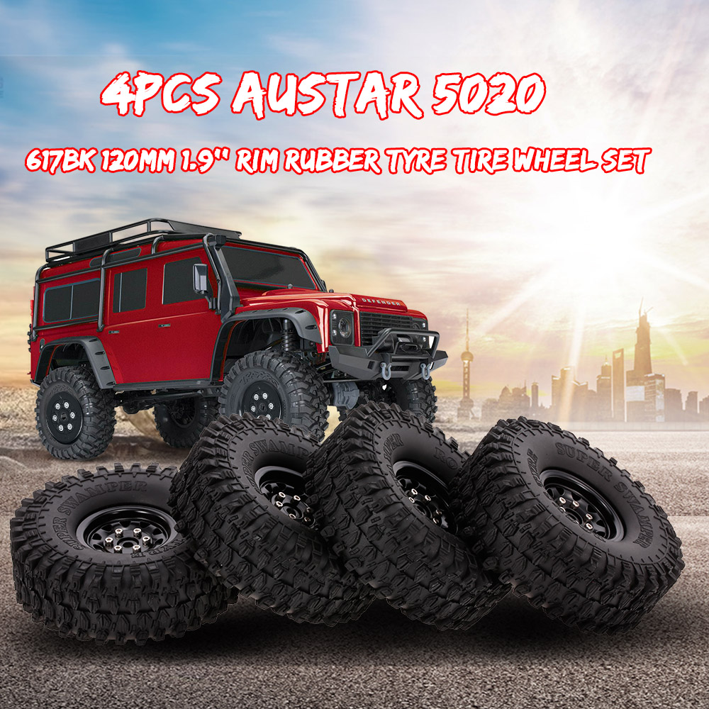 4pcs AUSTAR RC Car 5020+617BK 120mm Rim Rubber Tyre Tire Wheel Set for 1/10 HSP HPI Traxxas TRX-4 SCX10 RC4 D90 RC Rock Crawlers replacement original projector lamp with housing bl fu250d sp 81d01 001 for optoma h57 projectors