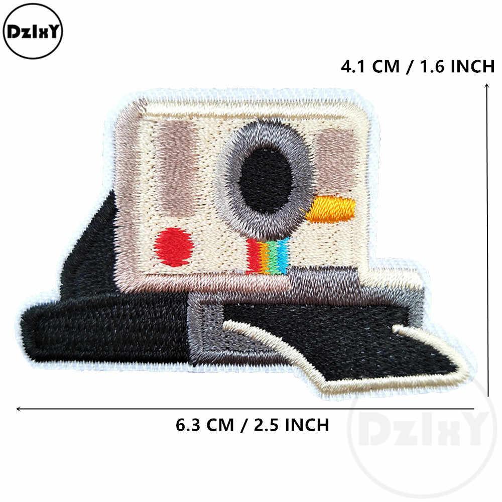 1 pçs remendos da câmera dos desenhos animados para crianças roupas ferro em apliques diy listras bordado adesivos costurar em emblemas bonitos @ N-46