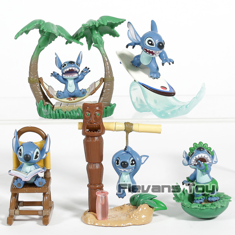 Toys & Hobbies Animation Cartoon Lilo & Stitch Mini Desk Top Figures Pvc Collectible Model Toys 5pcs/set