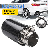 2inch 54mm In 76mm Out Glossy Carbon Fiber Car Exhaust Tip Pipe Muffler Universal