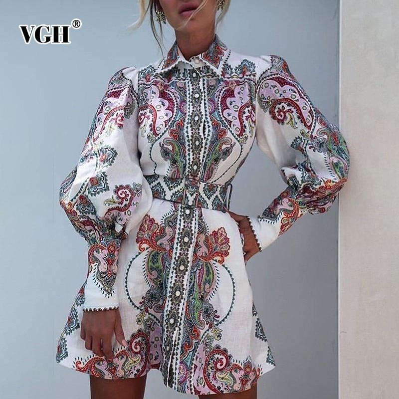VGH Summer Print Vintage Embroidery Women Dress Lapel Collar Long Lantern Sleeve Slim A Line Dresses Female 2020 Fashion New
