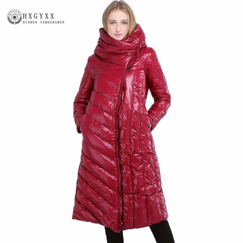 2019 Winter Women Feather   Coat   Warm Outerwear Bright Long Puffer Jacket Hooded Slim Plus Size White Duck   Down   Parka Snow OKD640
