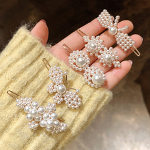 Sale 1PC Imitation Pearls Women Hair Clip Fashion Vintage  Flower Butterfly Hairpin Barrettes Accessories