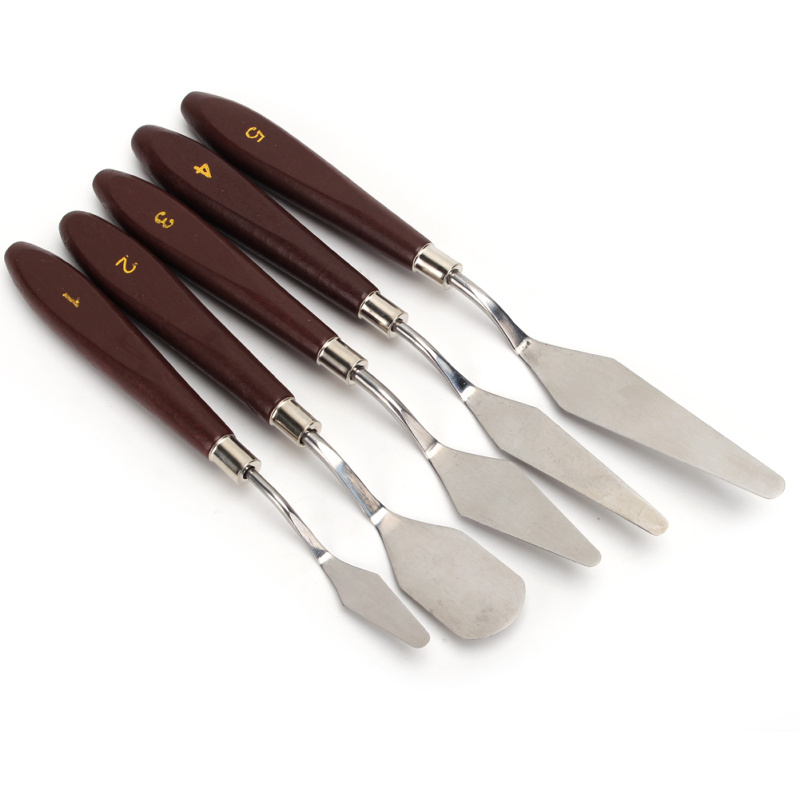 5Pcs Mixed Stainless Steel Palette Scraper Set Spatula Knives For Artist Oil Painting Tools Painting Knife Blade in Baking Pastry Spatulas from Home Garden