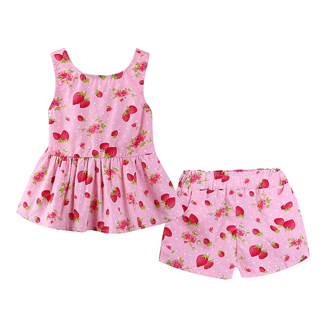 Little Baby Girls Outfit Strawberry Floral Printed