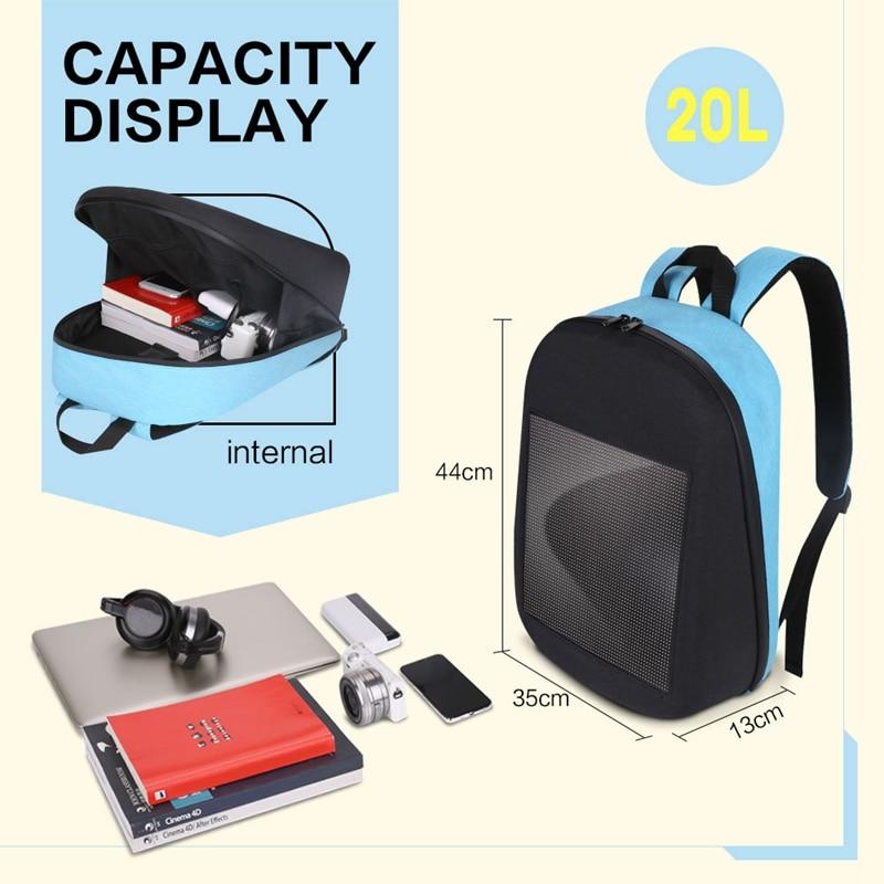Mode étanche Wifi Version Smart écran LED dynamique sac à dos lumière à assembler soi-même ville marche en plein air escalade sacs publicité Backpa - 3
