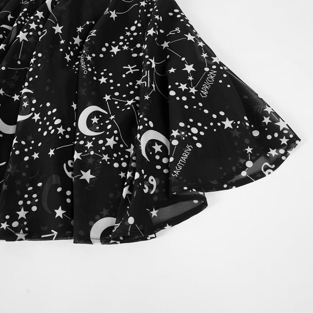 Rosetic Women Mini Skirts Casual Punk Hip Hop Black Gothic Aline Summer Star Mesh Print Embroidery Female Fashion Short Skirts