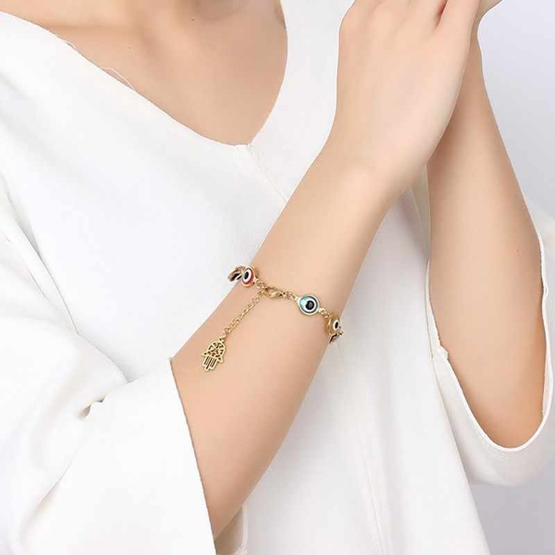 Gold Color Khamsah Charm Bracelets for Women Prayer Gift Jewelry with Eye Beads Charm