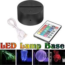 Многоцветный сенсорный переключатель, современный черный USB кабель, пульт дистанционного управления, Ночной светильник, акриловый 3D светодиодный ночник, собранная база