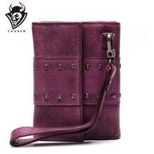 Женский кожаный клатч с 3 папками, винтажный женский кошелек с застежкой, винтажные ручные кожаные кошельки, органайзер, кошелек
