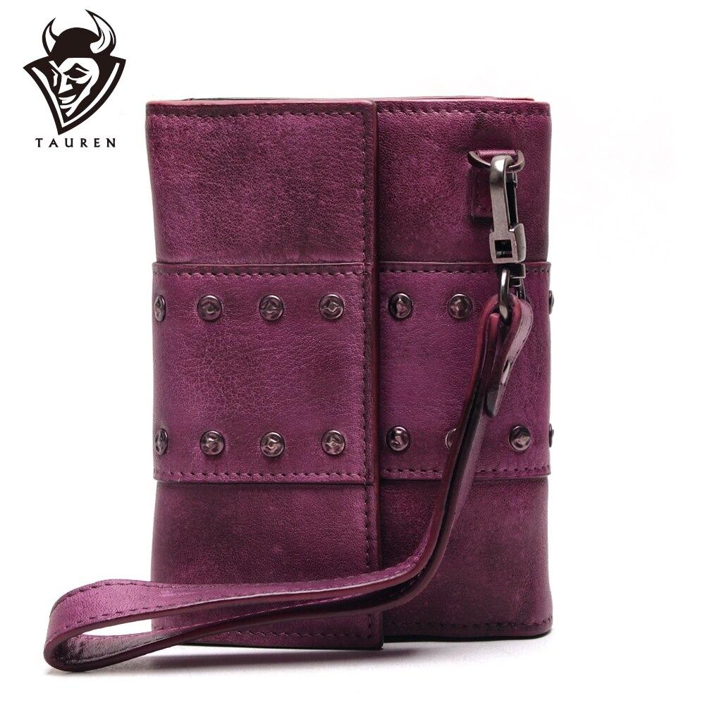 Pochette en cuir femme 3 dossiers Vintage femmes fermoir portefeuille Vintage main frottant cuir portefeuilles organisateur sac à main