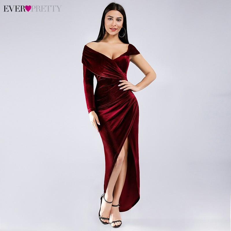 Burgundy Evening Dresses V-Neck Asymmetrical Off The Shoulder Sexy Formal Party Gowns Ever Pretty EZ03081BD Robe De Soiree 2020
