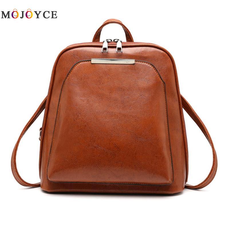 Couro de cera de óleo do vintage mochila de viagem feminina mochila casual ombro escola bagpack feminino volta pacote