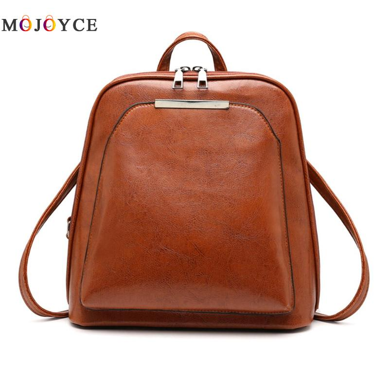 Vintage Oil Wax Leather Backpack Women Travel Satchel Casual Shoulder School Bagpack Female Back Pack
