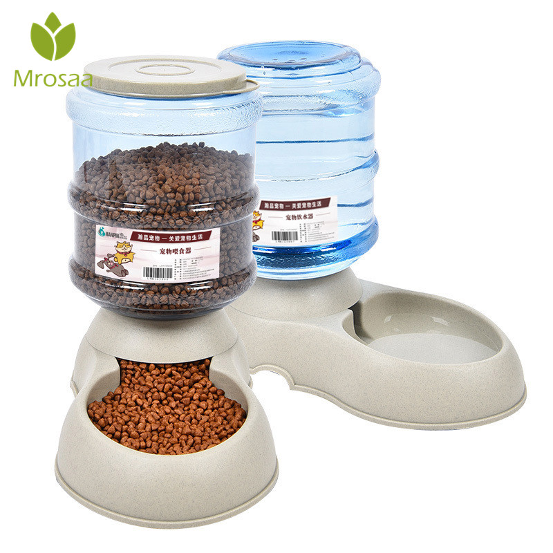 3.75L Cat Dogs Automatic Pet Feeder Water Fountain Drinking Bowl Large Capacity Pets Puppy Feeding Bowl Drinker Dispenser