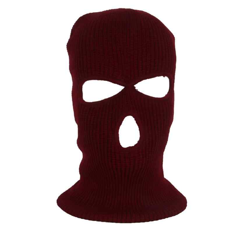 Outdoor Sport Full Face Cover Mask Three 3 Hole Balaclava Knit Hat Winter  Stretch Snow Mask Thermal Warm Knitting Wool Face Mask