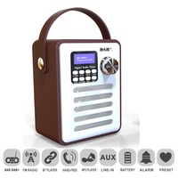 DAB Record USB MP3 Handsfree Retro Bluetooth LCD Display Wood FM Receiver Digital Radio Portable Rechargeable Audio Stereo